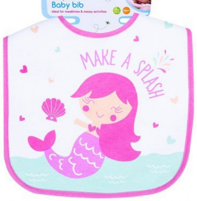 100% Cotton  Animal Bib Baby Feeding Dribble Boy Mermaid